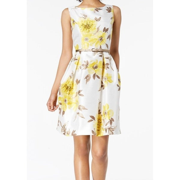 d7c63ee8849ff Shop Jessica Howard Yellow White Floral Print Belted 14 A-Line Dress ...