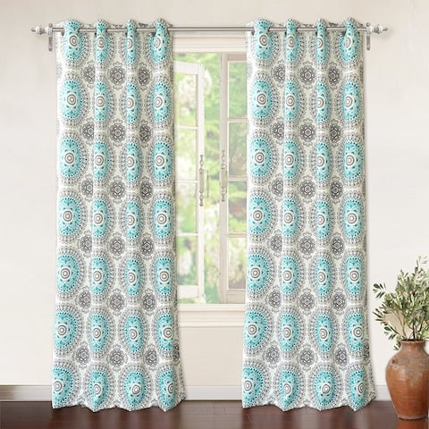 DriftAway Bella Medallion Printed Room Darkening Grommet Window Curtain Panel Pair