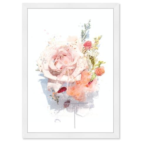 Wynwood Studio Prints 'Floral Pastel Splatter II' Orange Wall Art