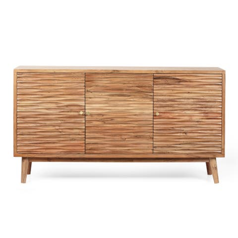 "Warrenton Boho Handcrafted 2 Door Acacia Wood Sideboard by Christopher Knight Home - 58.00"" L x 16.00"" W x 32.00"" H"