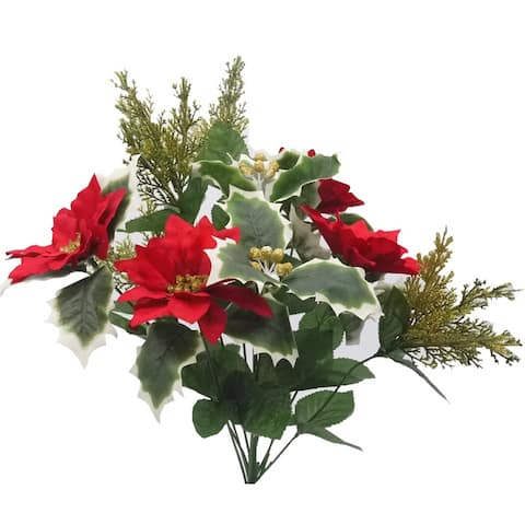 Artificial Winter Frost Seasonal Mixed Bush Holiday , Red Gold, ABN4B009-RED-GLD