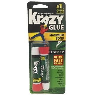 Krazy Glue KG41748MR Maximum Bond Super Glue, 2 Gram, Pack of 2