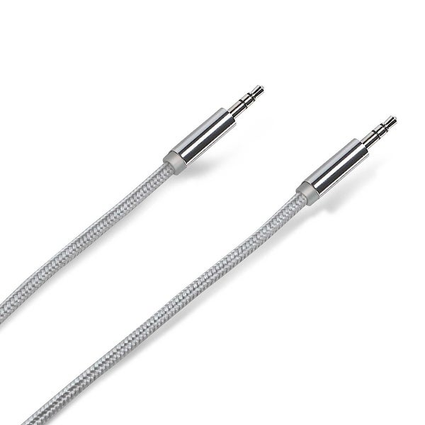 Celly Premium Textile Stereo Audio Auxiliary / Aux Cable 3.5mm - Silver