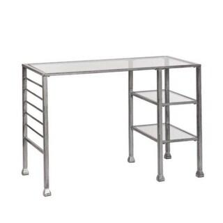 Southern Enterprises HO0776 Metal/Glass Writing Desk - Distressed Silver