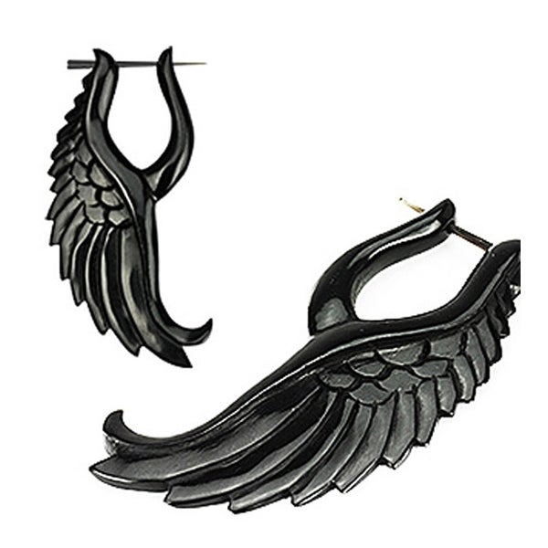 Pair of Organic Hand Carved Horn 'Angelic Wing' Stirrup Hanger Earring