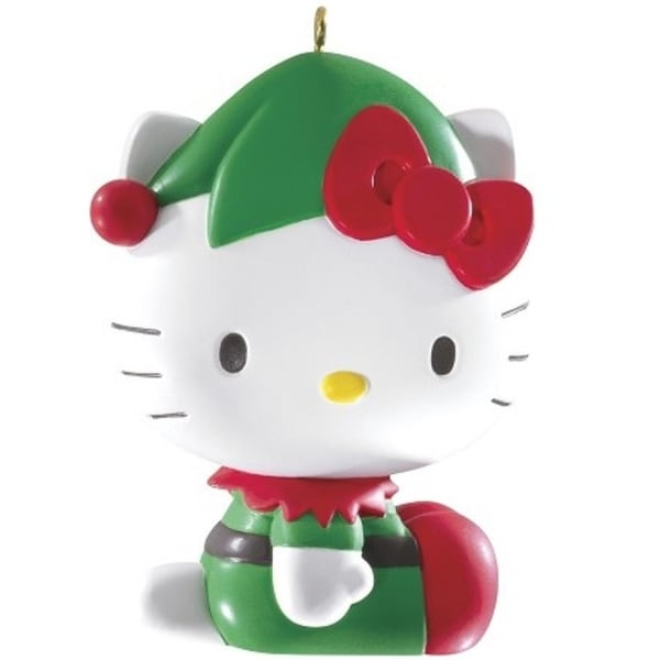 Carlton Cards Heirloom Hello Kitty with Red and Green Elf Outfit Christmas Ornament