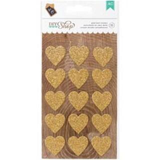 Gold Hearts - DIY Shop 2 Glitter Stickers