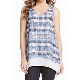 Karen Kane NEW Blue White Women's Size Large L Overlay Tank Blouse