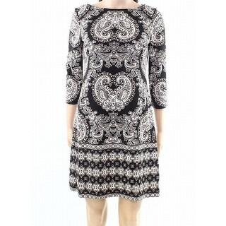 London Times Womens Petite Paisley Sheath Dress