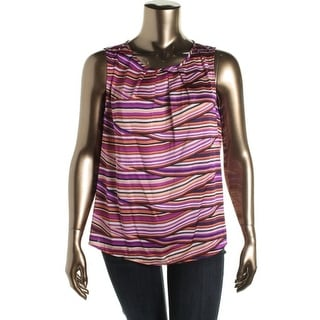 Nine West Womens Artisan Touch Pleated Striped Blouse - L