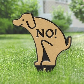 Whitehall No Poop Dog Silhouette Cast Aluminum Yard Sign (Gold/Black)