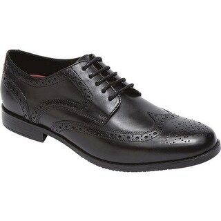 Rockport Men's Style Purpose Wing Tip Oxford Black Full Grain Leather