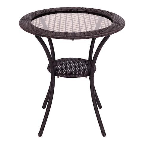 Costway Round Rattan Wicker Coffee Table Glass Top Steel Frame Patio