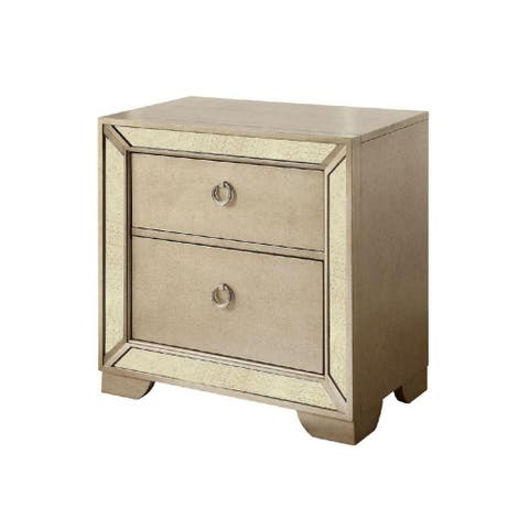 2 Drawers Nightstand With Antique Mirror Panels, Champagne