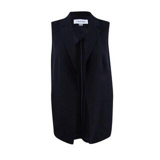 Calvin Klein Women's Plus Size Open-Front Vest - Black