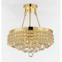 Semi Flush Mount French Empire Crystal Chandelier With 40MM Crystal Balls Crystal Gold
