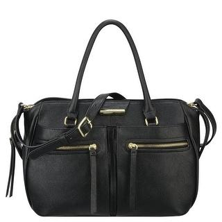 Nine West Womens Just Zip It Faux Leather Convertible Satchel Handbag - Black - Medium