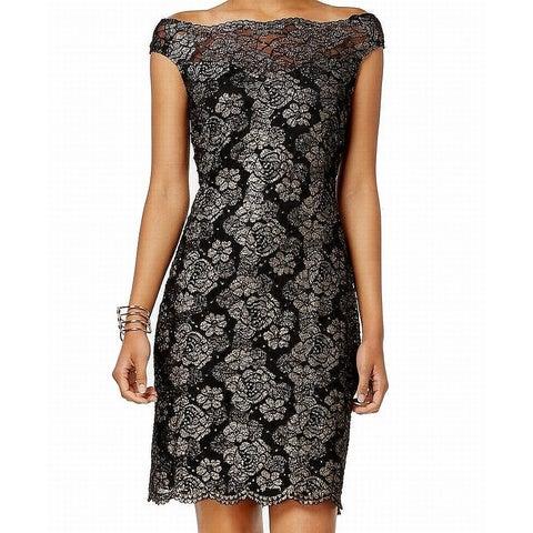 Connected Apparel Black Women's Size 6 Floral Lace Sheath Dress