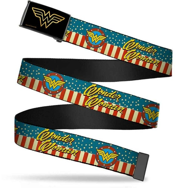 Wonder Woman Brushed Gold Black Cam Wonder Woman Logo Americana Red Web Belt