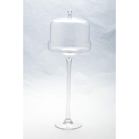 "20"" Clear Dome Hand Blown Glass Cake Stand with Lid"