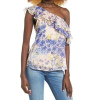 Leith Womens Medium Floral Ruffle One-Shoulder Blouse