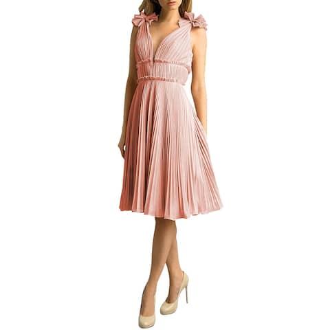 Basix Black Label Womens Pleated Metallic A-line Dress 12 Pink