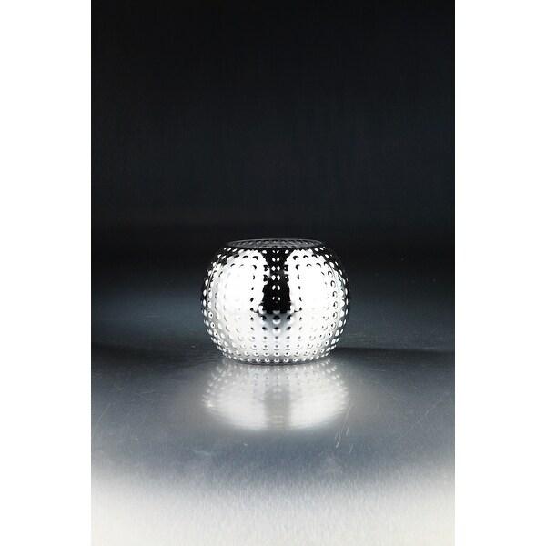 "8"" Metallic Silver Hand Blown Glass Vase Tabletop Decor - N/A"