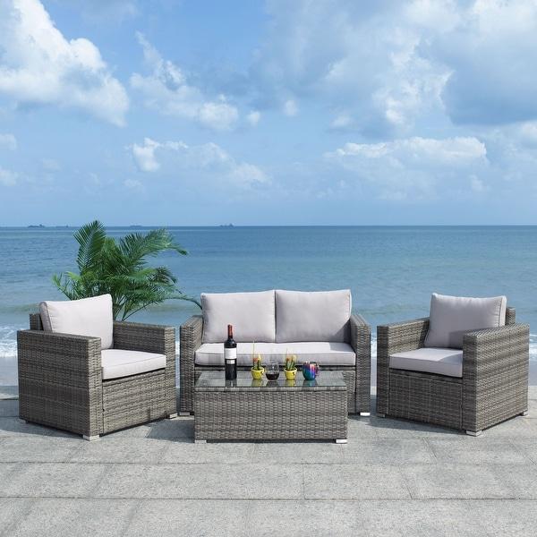 SAFAVIEH Outdoor Living Machie 4-Piece Patio Set. Opens flyout.