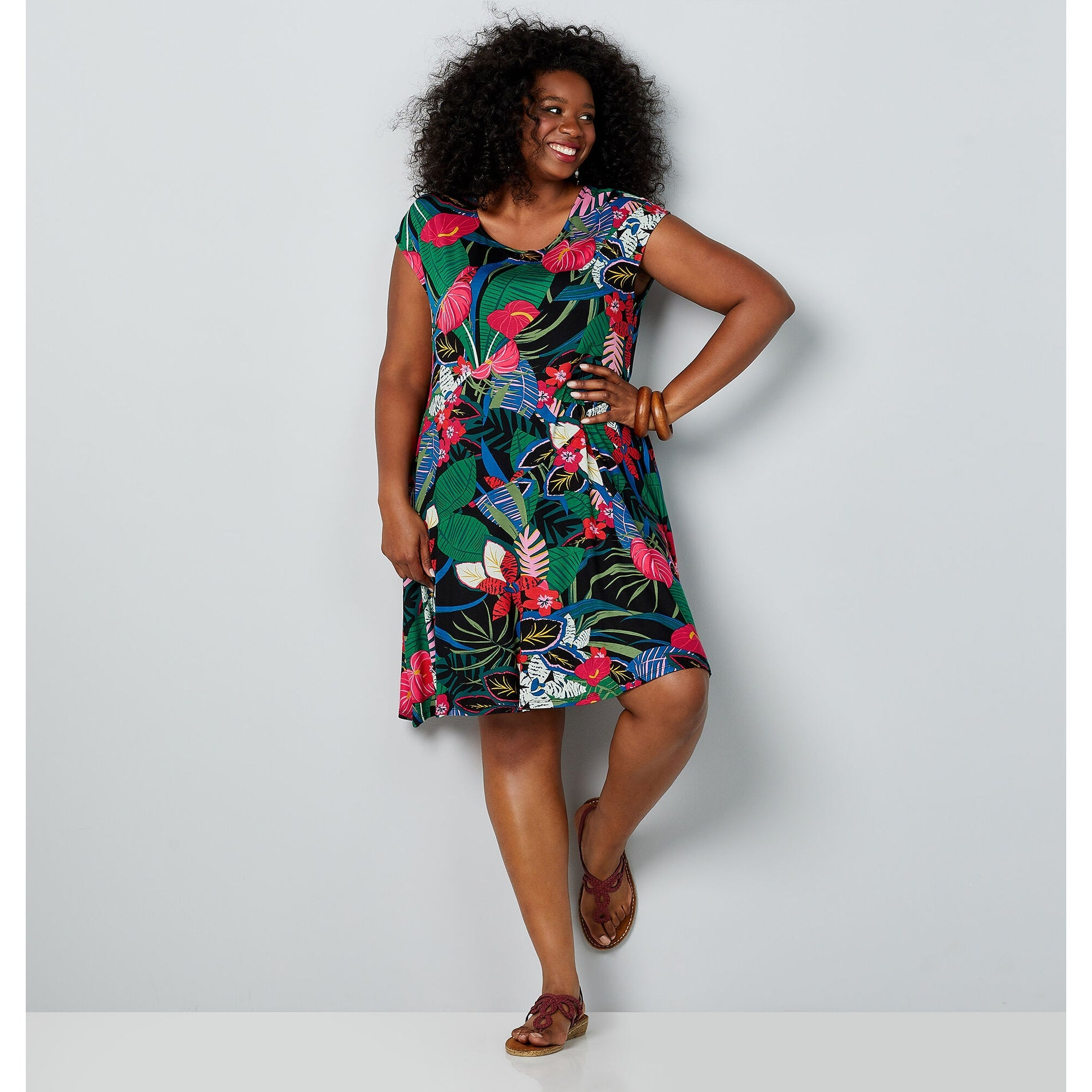 AVENUE Women\'s Tropical Print Bias Cut Dress - Olive