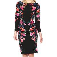 Eliza J Black Floral Printed Midi Women's Size 6 Sheath Dress