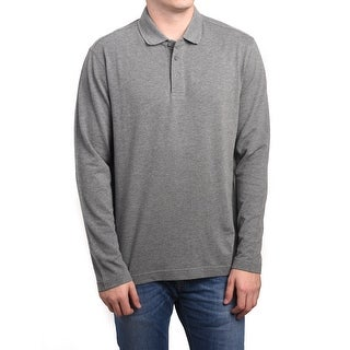 Z Zegna Men Long Sleeve Pique Cotton Polo Shirt Grey