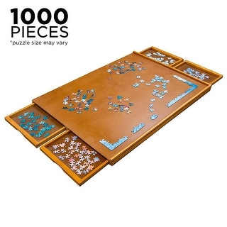 """Link to Jumbl Wooden Jigsaw Puzzle Table with Smooth Plateau Work Surface - 7'9"""" x 9'9"""" Similar Items in Games & Puzzles"""