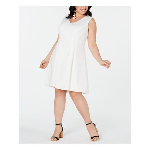 TEEZE ME White Sleeveless Knee Length Fit + Flare Dress Size 20