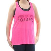 Womens Pink Workin Out Sleeveless Scoop Neck Active Wear Top  Size  L