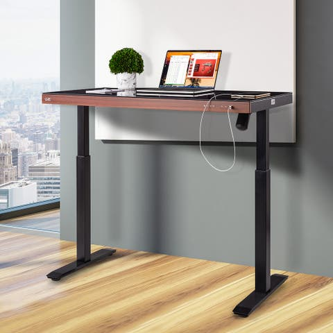 """airLIFT 47.5"""" Tempered Glass Electric Sit-Stand Desk with Dual USB Charging ports with Wood front"""