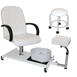 LCL Beauty White Hydraulic Lift Adjustable Pedicure Unit with Massage Footbath
