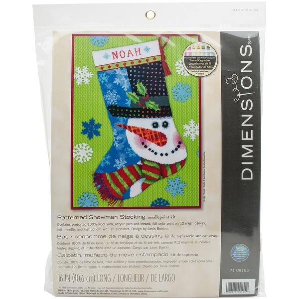 """Patterned Snowman Stocking Needlepoint Kit-16"""" Long Stitched In Wool & Thread"""