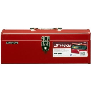 """Stack-On R-519-2 Multi-Purpose & Hip Roof Tool Box, Red, 19"""""""