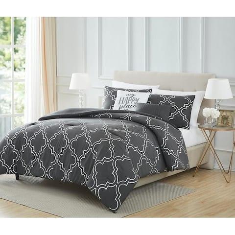 Adriana Quatrefoil 5-Piece Shimmering Foil Comforter Set