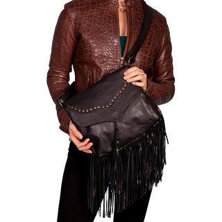 Scully Western Handbag Womens Soft Leather Fringe Flap Black B73 - One size