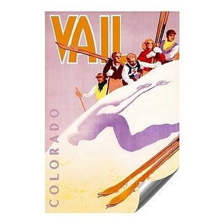 "CGSignLab - ""Vail Colorado Vintage Advertising Poster"" Fine Art Contour Graphics Self-Adhesive Aluminum Poster"