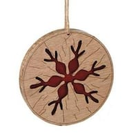 "3.5"" Alpine Chic Brown and Red Country Rustic Style Snowflake Disc Ornament"