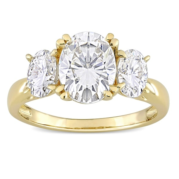 Miadora 10k Yellow Gold 3ct TGW Oval-cut Created White Moissanite 3-Stone Engagement Ring. Opens flyout.