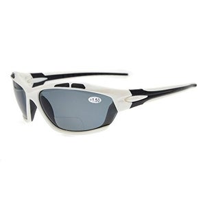 Eyekepper TR90 Sports Polarized Bifocal Sunglasses White Frame Grey Lens +2.0