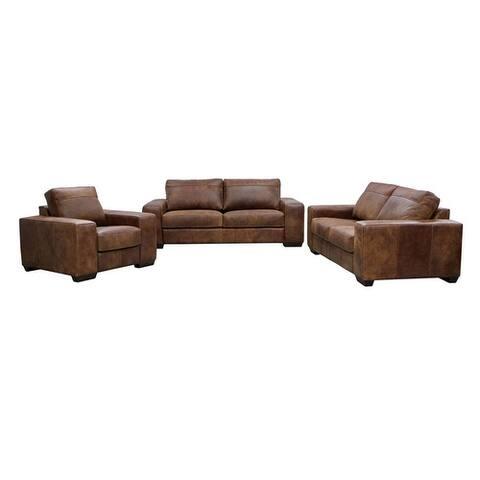 Ashanti CALEDON Genuine Semi Nu-Buck Full Aniline Leather Sofa Set - Spice