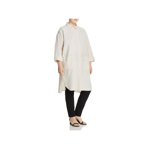 Eileen Fisher Womens Plus Midi Coat Fall Linen