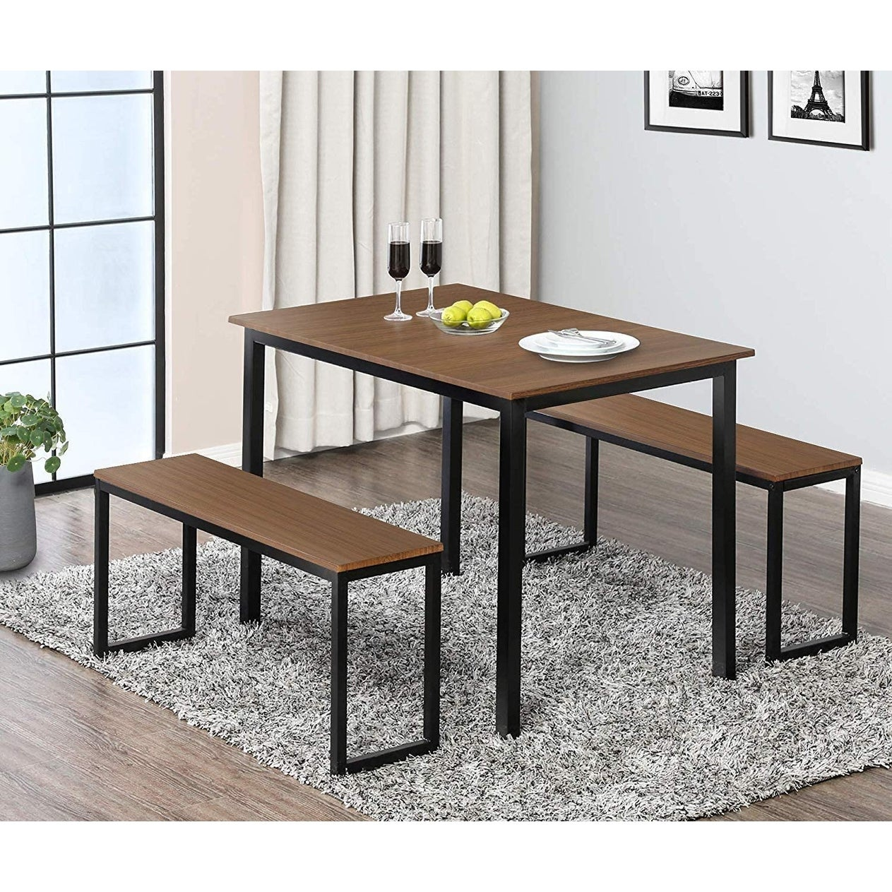 Home Treats Dining Table Set with Two Benches Wooden Finish Black Metal Frame 3 Piece Breakfast Table and Bench