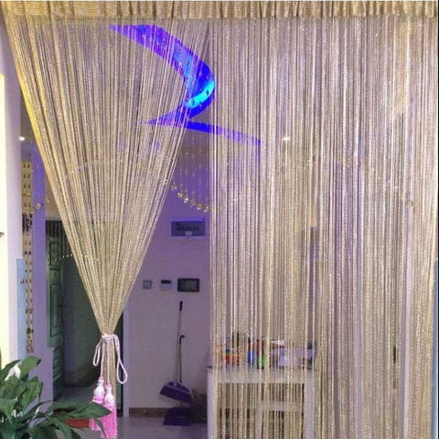 Door Window Sparkling Flat Ribbon Strip Tassel Screen Divider String Curtain