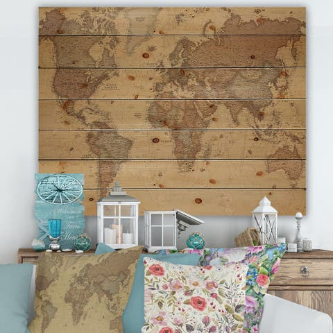 Designart 'Ancient Map of The World III' Vintage Print on Natural Pine Wood