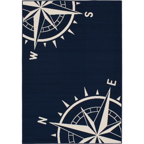 Gainsville Nautical Compass Blue and Ivory Woven Area Rug